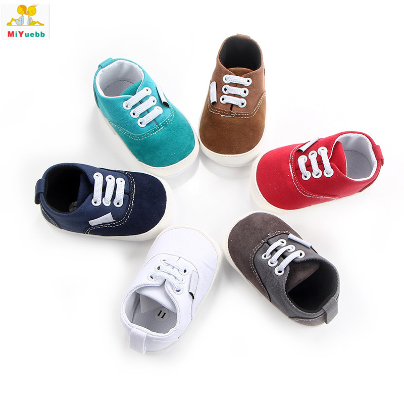 Spring Autumn Newborn Prewalker Rubber Sole Lace-up Canvas Anti-skid Baby Boots Toddler Crib Kids Infant Casual Shoes