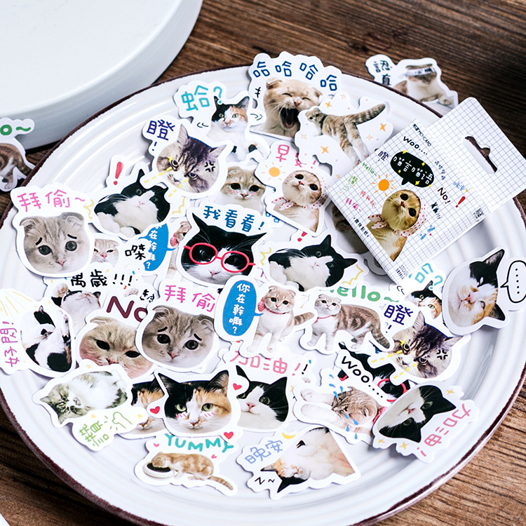46Pcs/pack Creative Cat Language Paper Stickers Flakes Vintage Romantic For Diary Decoration Diy Scrapbooking Stationery Sticker