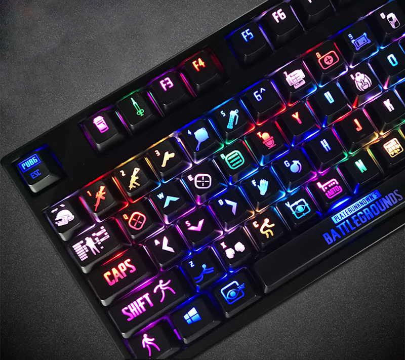 108 keys/set Personality Translucent Mechanical Keyboard Key Cap Exclusive For PUBG ABS Black keycaps