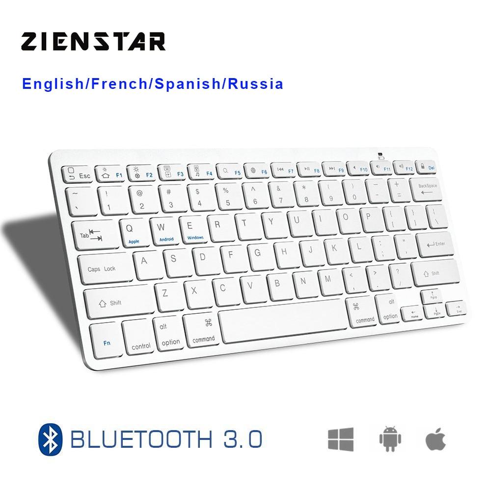 Zienstar Ultra Slim Wireless  Bluetooth KEYBOARD  For IPAD/Iphone/Mac/LAPTOP /DESKTOP PC/ TABLET,English/Spanish/French Letter