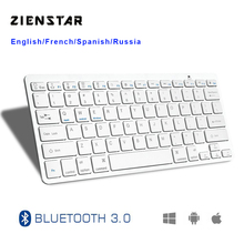 Zienstar Ultra Slim Wireless  Bluetooth KEYBOARD  for IPAD/Iphone/Mac/LAPTOP /DESKTOP PC/ TABLET,English/Spanish/French Letter