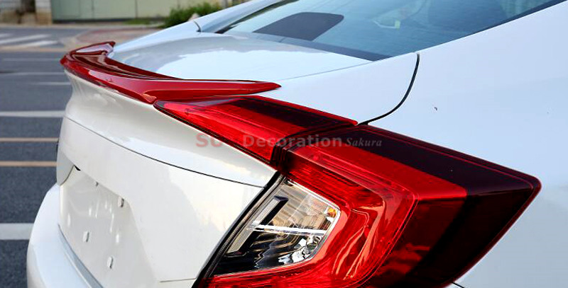 For Honda Civic 10th Gen 4dr Sedan 2016 2017  Red COLOUR Rear Boot Trunk Spoiler Wing Cover NEW!!! fit for 2006 2015 honda civic 4dr sedan roof spoiler abs painted taffeta white nh578