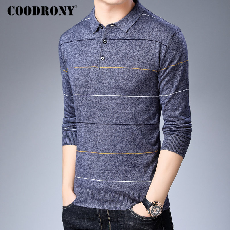 Image 2 - COODRONY Brand Sweater Men Fashion Striped Pullover Men Autumn Winter Knitwear Pull Homme Soft Warm Cotton Woolen Sweaters 91042-in Pullovers from Men's Clothing