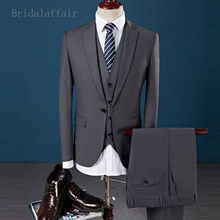 Bridalaffair Men Suit Prom Wedding Suits For Mens 3 Pieces Grey Pink Purple Blazer Suit Mens Groom Tuxedo Jacket Pants Vest Set(China)