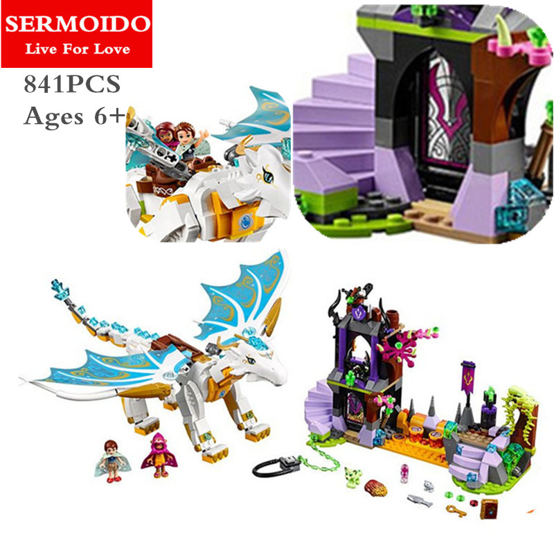 SERMOIDO White Dragon The Elf Series Of Long After The Rescue Cction Blocks With Lepine 41179 Girls Assembled Block Toys B91 dragon футболка dragon d c 8 white