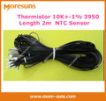 Free shipping 50pcs/lot  NTC Thermistor 10K+-1% 3950 L=2M with NTC nickel plated copper shell 5*25mm NTC temperature sensor