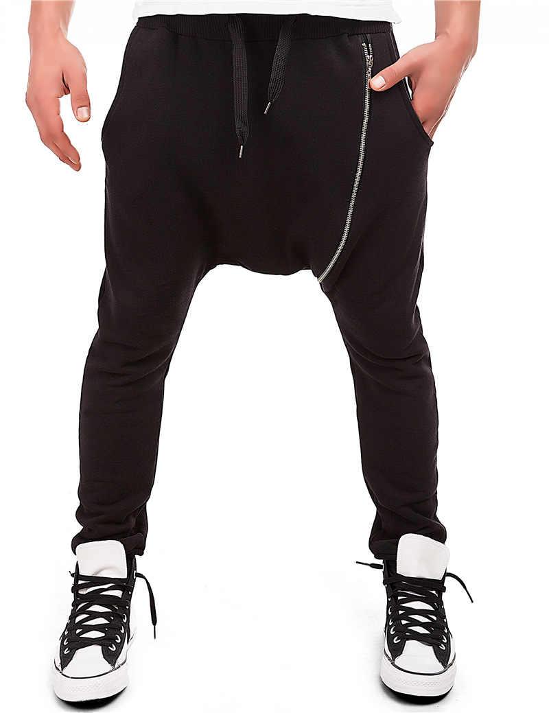 男性カジュアルドレープドロップクロッチハーレムヒップホップパンツズボンだぶだぶダンスパンツゴシックパンクスタイルハーレムパンツ男性