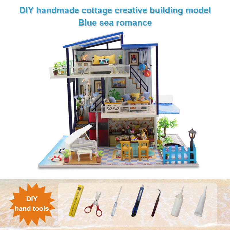 Miniature Dollhouse DIY Handcraft Kit Furnitures Wooden House Romantic Gift Blue Villa NSV775Miniature Dollhouse DIY Handcraft Kit Furnitures Wooden House Romantic Gift Blue Villa NSV775