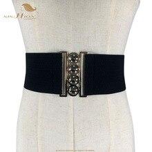 SISHION Fashion Women Belt Elegant White Red Black Wide Waistband Corset Vintage Design Stretch Elastic Female Belt VB0004