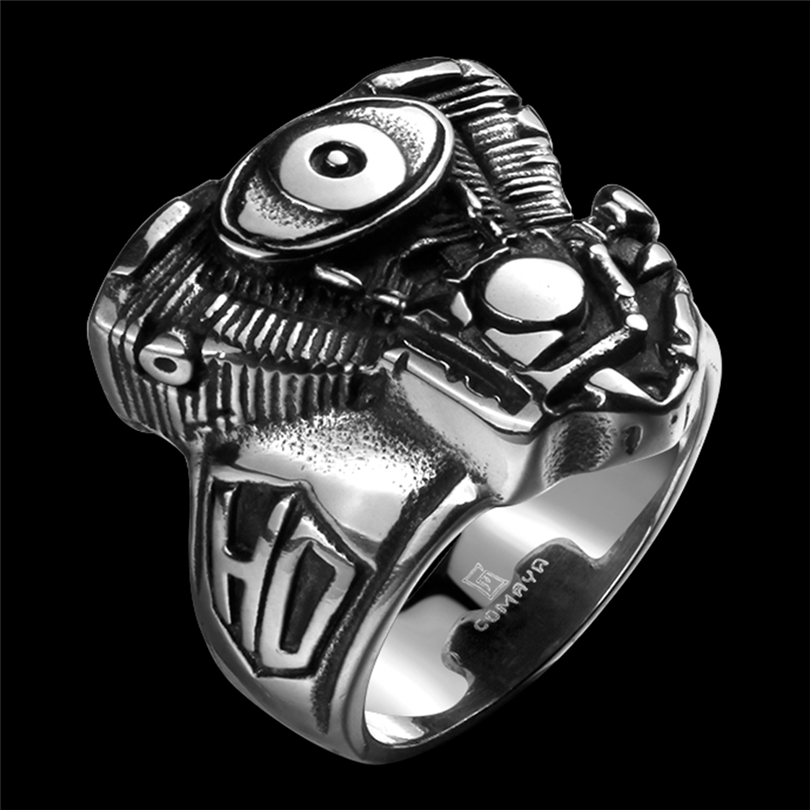 Stainless Steel with Eyes Punk Ring Enamel Retro Vintage Biker Large Antique Mens Rings For Seal men Rock mens Jewelry