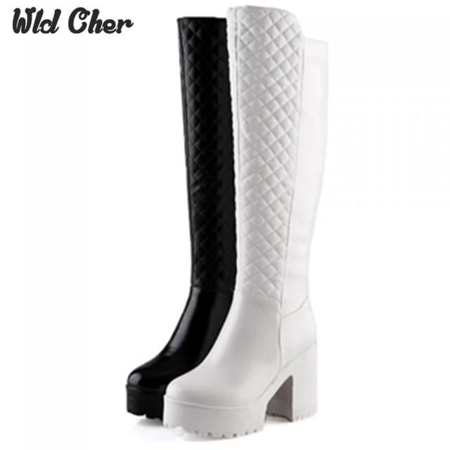 De tacón alto a prueba de agua 43 de piel Caliente invierno resbalón en cuñas zapatos de tacón botas sobre la rodilla de las mujeres zapatos atractivos de la plataforma flock nieve botas mujer