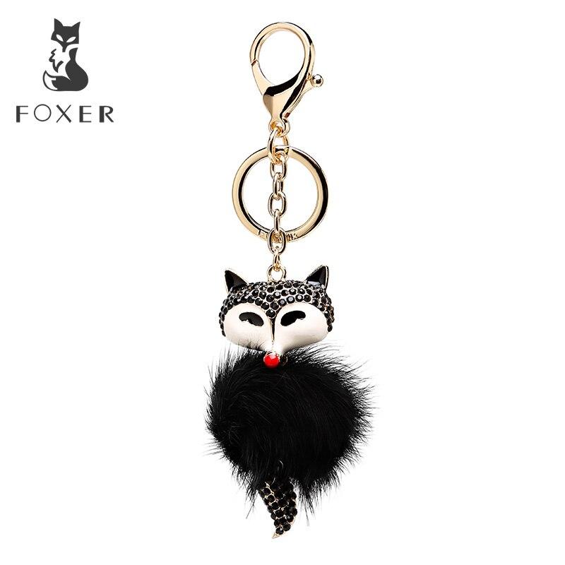 Foxer Brand Plush Pendant & Keychain Light Weight Keychains Hanging Ornament For Women Handbag Car Keychain