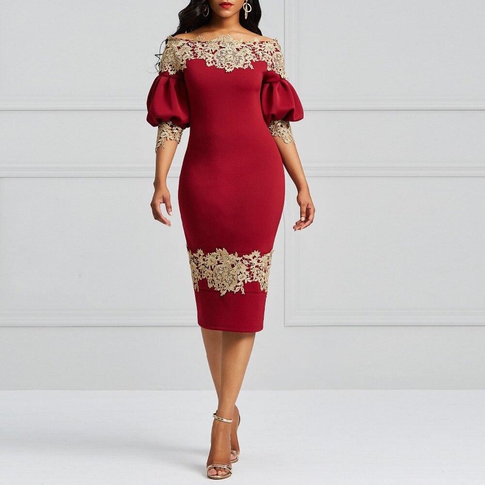 2018 Vintage Burgundy Elegant Sweet Women Dresses Bodycon Slash Neck Lantern Sleeve Floral Backless Girls Off the Shoulder Dress