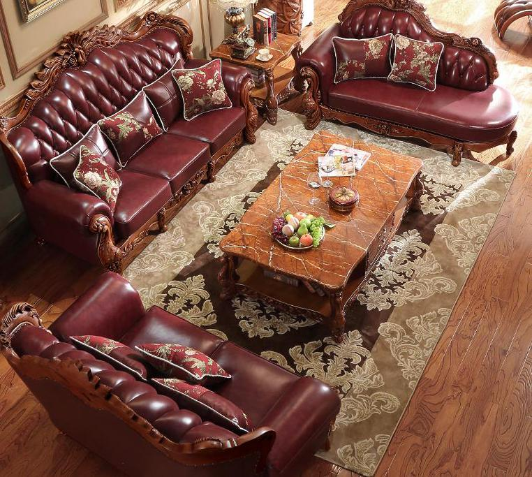 Charm Master, European Style Leather Sofa, 123 Sets Of Solid Wood Living Room Furniture, Head Leather, American Leather Sofa image