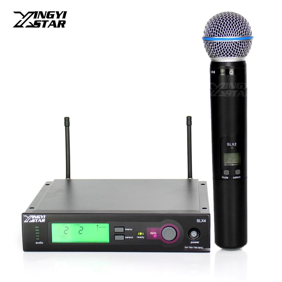 Professional Beta 58A 58 SLX2 Vocal Handheld Dynamic Mic SLX4 Cordless Receiver For UHF Wireless Microphone