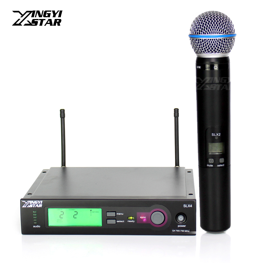 Professional Beta 58A 58 SLX2 Vocal Handheld Dynamic Mic SLX4 Cordless Receiver For UHF Wireless Microphone Karaoke Audio Mixer ur6s professional uhf karaoke wireless microphone system 2 channels cordless handheld mic mike for stage speech ktv 80m distance
