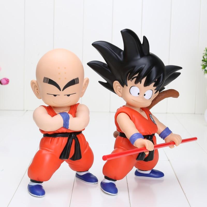 2pcs/Lot 18cm/7 inch Height Japan Anime Dragon Ball Z Goku Kuririn PVC Action Figure Dragonball In box 18cm dragon ball z action figure goku and gohan deification rama ver dragonball pvc toys 18cm free shipping