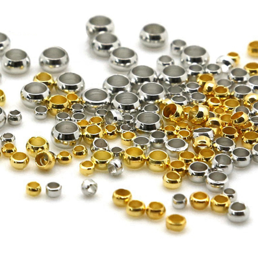 500pcs 2.5mm Stainless Steel Round Beads Crimp End Bead For Diy Jewelry Findings And Components Rhodium Silver