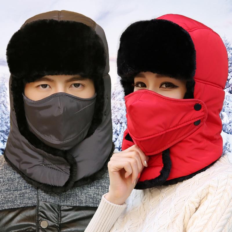 2017 Nuovo Inverno Balaclava Beanie del cappello Femminile per Le Donne Uomini Faccia maschera Cofano Antivento Spessore Neve Ski Inverno Del Cappello earflap