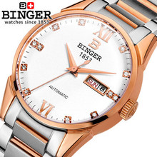 Hot Sale 2016 Fashion Rhinestones Top Brand Wristwatches Gold High Luxury Watches Men Binger Watch Automatic