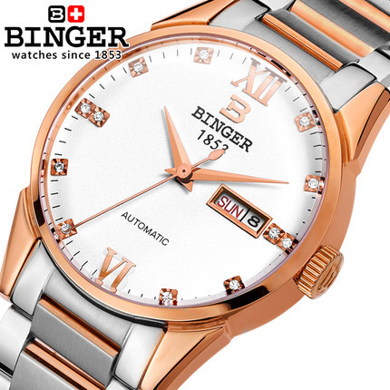 Hot Sale 2017 Fashion Rhinestones Top Brand Wristwatches Gold High Luxury Watches Men Binger Watch Automatic Switzerland hollow brand luxury binger wristwatch gold stainless steel casual personality trend automatic watch men orologi hot sale watches