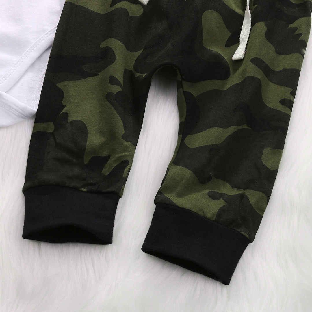 Комплект одежды для новорожденных мальчиков и девочек, боди, армейский зеленый брючный комбинезон, боди, детская одежда, костюм для девочек от 0 до 18 месяцев