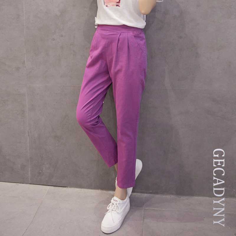 2018 Summer new women casual   pants     capris   fashion cotton Linen cropped   pants   elastic waist harem   pants   trousers size S-3XL