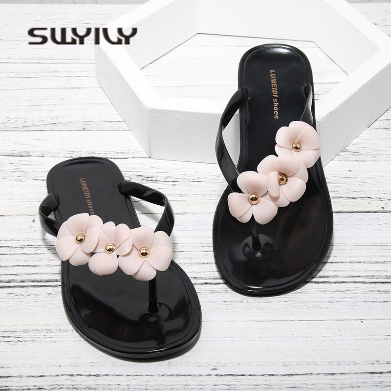 SWYIVY Womens Slippers Flip Flops Jelly Shoes 2018 Camellia Flower Woman Beach Slipper Summer Woman Jelly Casual Shoes Flat 40 3