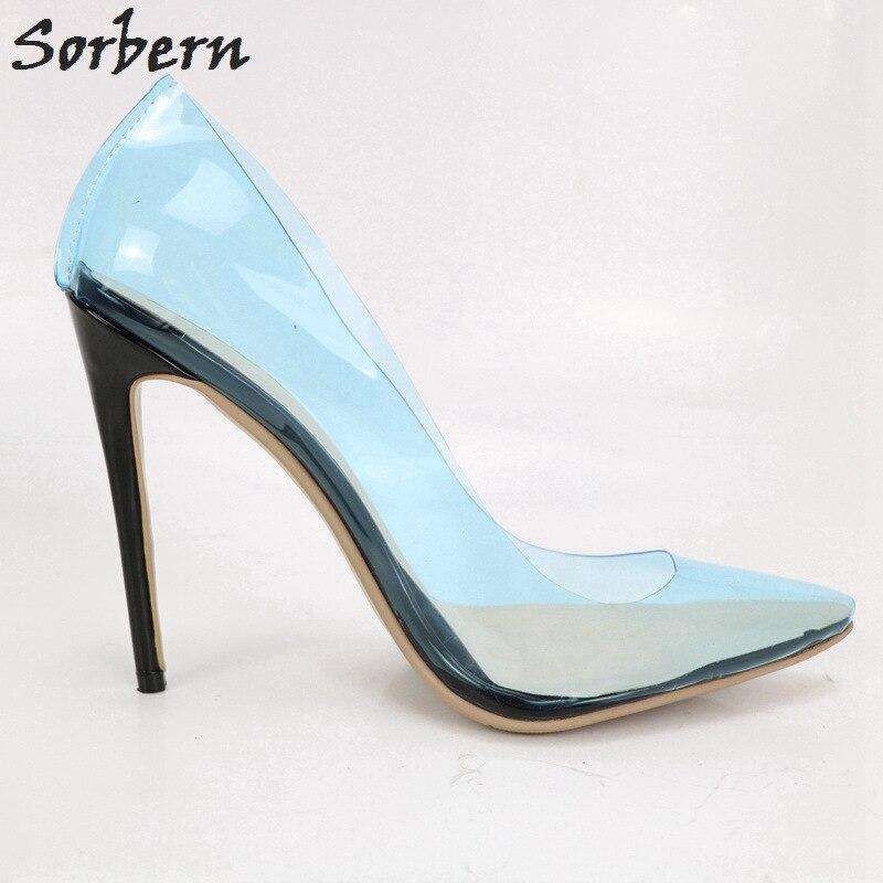 Sorbern Для женщин насосы плюс Размеры цвет на заказ Для женщин s обувь на высоком каблуке Острый носок ПВХ обувь для вечеринок 2018 г. пикантные Н
