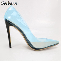 Sorbern Women Pumps Plus Size Custom Color Womens High Heels Shoes Pointed Toe PVC Party Shoes Sexy 2018 New Arrive Shoes