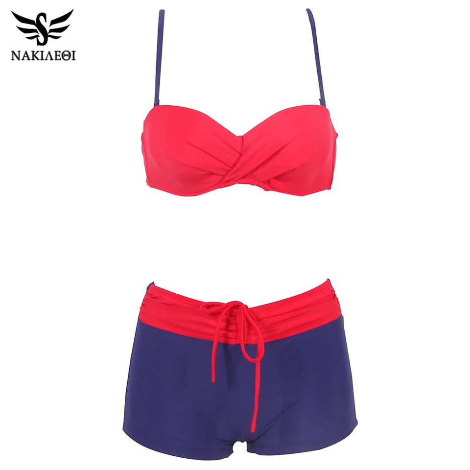 f5640208b3 ... NAKIAEOI 2018 Bikini Push Up Swimwear Women Swimsuit Plus Size Swimwear  Solid Patchwork Shorts Two- ...
