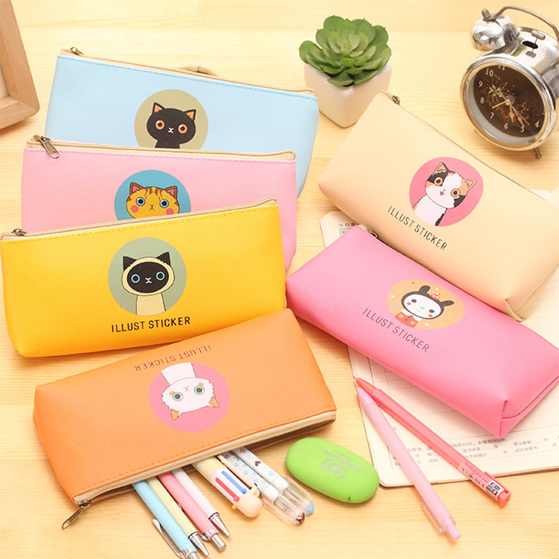 Korean Kawaii Cartoon Cat Pencil Case Creative Stationery Cute Pu Pen Pencil Bags For Girls Zipper Box Students School Supplies