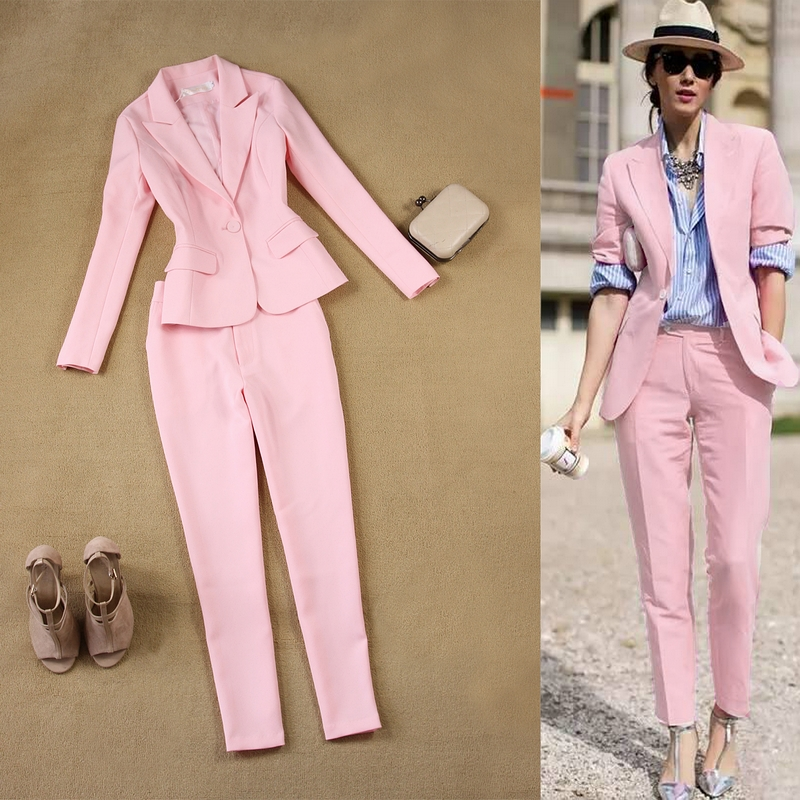 2 Sets Of Women's 2019 Spring And Autumn New England Slim OL Temperament Simple Pink Suit Jacket + Pants Suit Two-piece