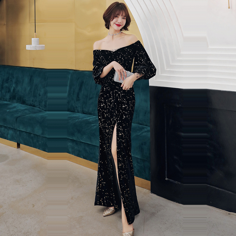 Evening Dress Boat Neck Sequin Women Party Dresses Backless Robe De Soiree 2019 Plus Size Off The Shoulder Formal Gowns E724
