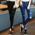 Ropa americana Nueva Llegada A Cuadros Nuevos Pantalones Vaqueros de Cintura Alta 2016 Hitz Corea Pantalones Flacos Nueve Agujero Mendigo Pantalones Vaqueros de Talle Alto mujeres