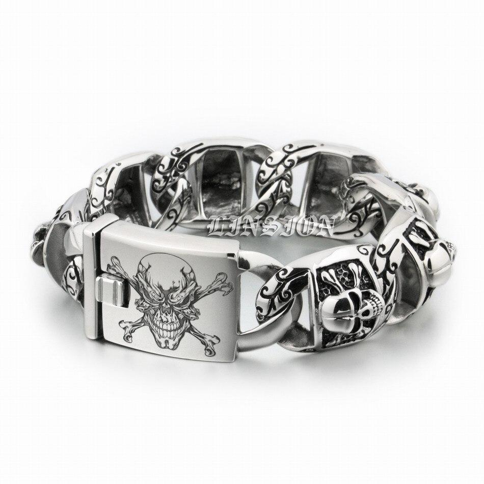 Bracelet en acier inoxydable pour motard garçons, très épais, gravure Laser profonde, crâne de Pirate, hommes, Biker, Rock Punk, 5T102