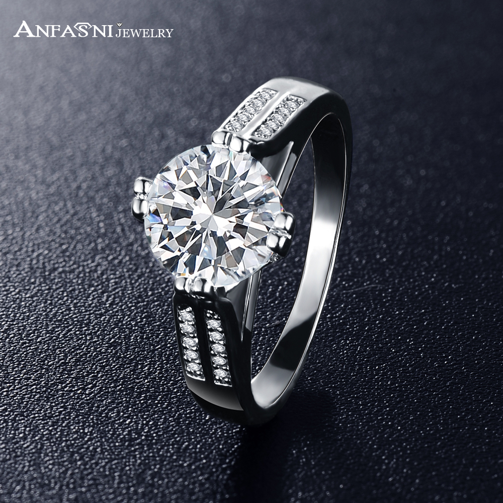 anfasni hot sell rings brand design high quality silver color engagement rings cz zircon rings for - Sell Wedding Ring