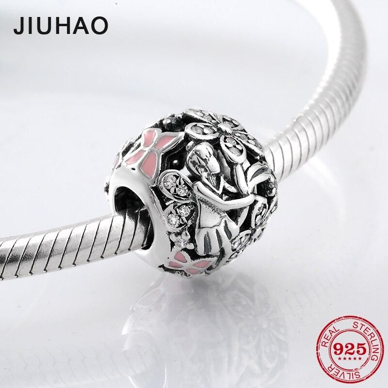 d350774dac6e Mariposa Hada maiden 925 Plata de ley y cuentas de esmalte Rosa accesorios  de moda Ajuste Original Pandora encanto pulsera joyería