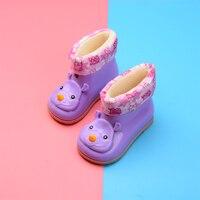 Su geçirmez çocuk lastik çizmeler jöle yumuşak bebek ayakkabı kış sıcak bebek çocuk kürk yağmur botu Boys & Girls çocuk yağmur ayakkabıları sıcak