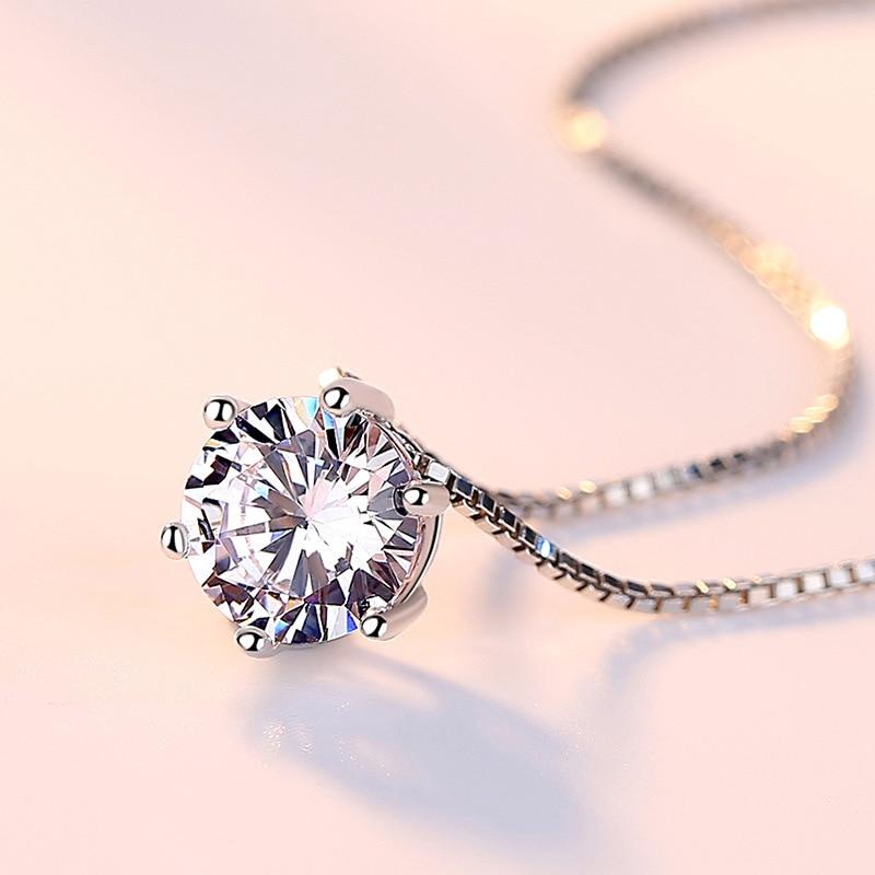 Zarif rhinestone zinciri tek zirkon 925 saf gümüş kolye kadın - Kostüm mücevherat - Fotoğraf 2