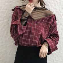 Rosetic Gothic Blouse Red Plaid Mesh Patchwork Women Casual Loose Goth Shirts Fashion V-Neck Young Outdoor Tops Gothics Blouses