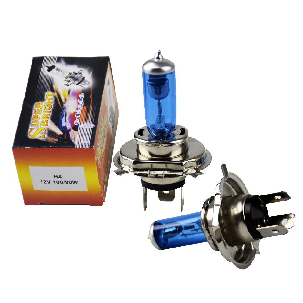 2 unids/par blanco H4 100 W Auto faro lámpara de repuesto bombilla de luces DC12V 5000 K