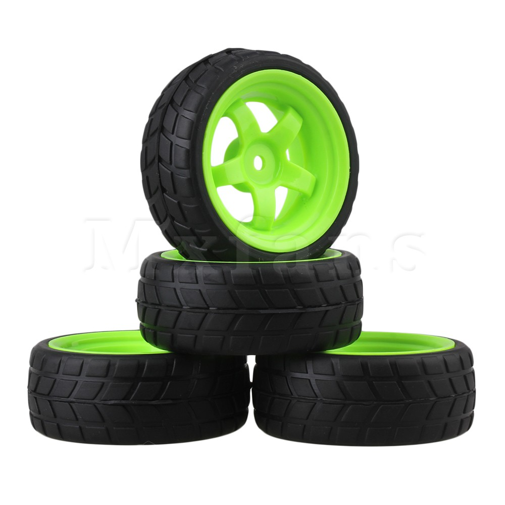Mxfans RC 1: 10 Racing Flat Car Plastic Green Wheel Rims&Rubber Tires Pack of 4 mxfans rc 1 10 2 2 crawler car inflatable tires black alloy beadlock pack of 4