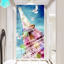 PSHINY 5D DIY Diamond embroidery sale colorful Eiffel Tower Landscape Picture diamond painting full square rhinestone