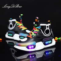 Children's light sports shoes rechargeable with flashing lights ghost step boys shoes girls led colorful lights shoes autumn and