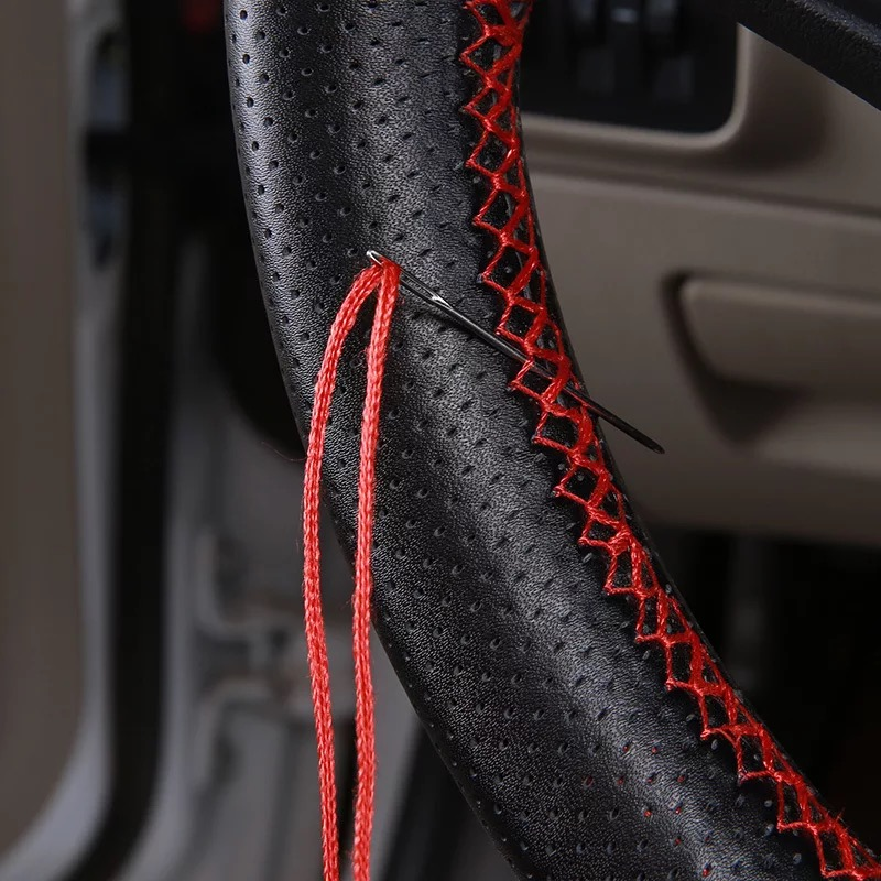 DIY Hand-stitched 38-40cm Car Styling Genuine Leather Auto Car Steering Wheel Cover Cap Anti-slip With Needles and Thread
