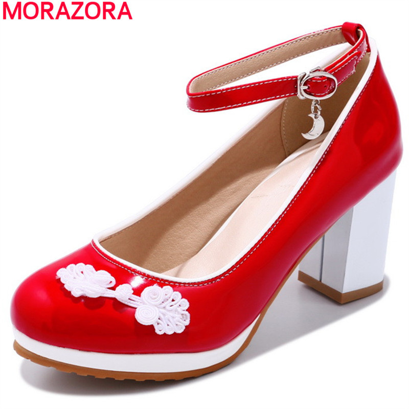MORAZORA new arrival fashion Chinese style pumps party women shoes thick heels high heels shoes woaman Plus size 34-46 buckle egonery buckle strap faux leather thick high heels fashion style ladies party shoes women s shoe plus size woman pumps