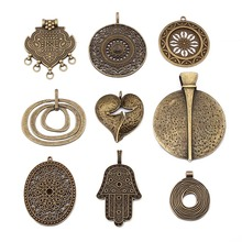 2pcs Antique Bronze Heart Bohemia Flower Hands Swirl Circle Round Oval Open Craft Pendant For Necklace Jewelry Making