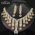 Classic 18 K Gold Plated Rhinestone Crystal Bridal Accessories Jewelry Promotion African Costume Wedding Jewelry Sets For Women