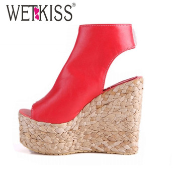 WETKISS 34-43 Bohemia Plaited Straw Wedges Ankle Wrap Cutouts Sandals High Heels